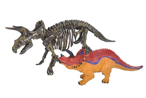 Triceratops Figurine with Skeleton Replica