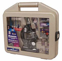 Deluxe Microscope Set with Carrying Case, kids microscope, microscope toy, plastic microscope