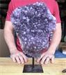 "Large Purple Druzy Cluster Amethyst on Metal Stand 13"" 9.7 lbs"