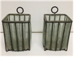 2 Old Vinatge Iron & Glass Wall Candle Holders Spanish Gothic Decor