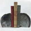 Set of 2 Polished Agate Geodes Bookends | Black 5""