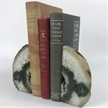 Set of 2 Polished Agate Geodes Bookends | Green 5""