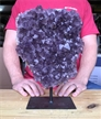 "Large Purple Druzy Cluster Amethyst on Metal Stand 11.5"" 9 lbs"
