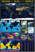 Oceans and Seas of the World Laminated Poster