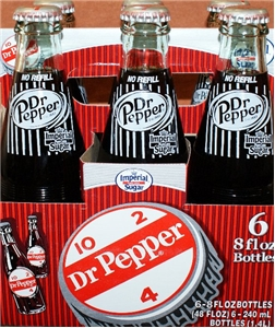 New Original Dr. Pepper Made with Imperial Cane Sugar 4 - 6 Packs (24 - 8 Oz. Glass Bottles) (Not Dublin)