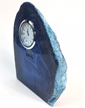 "Blue Polished Agate Slab Clock w/ Cut Base 5.75"" 4.55 lbs"
