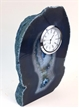 "Blue Polished Agate Slab Clock w/ Cut Base 5.5"" 5.4 lbs"