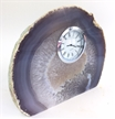 "Natural Polished Agate Slab Clock w/ Cut Base 7.5"" 5.7 lbs"