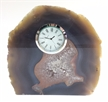 "Natural Polished Agate Slab Clock w/ Cut Base 7.75"" 5.6 lbs"