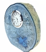 "Blue Polished Agate Slab Clock w/ Cut Base 6.75"" 4.5 lbs"