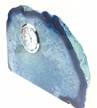 "Blue Polished Agate Slab Clock w/ Cut Base 10.25"" 9.55 lbs"