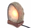 "Polished Natural Agate Lamp w/ Wooden Base 4"" 4.3 lbs"
