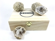 Wood Gift Box w/ 6 Break Your Own Whole Moroccan Geodes Crystals