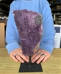 "Large Purple Druzy Amethyst on Metal Stand 9.5"" 3.6 lbs"