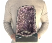 "Large Natural Amethyst Cathedral 19.35 Lbs Purple Amethyst Geode Color Crystal 20.75"" Display"