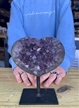 "Large Heart Purple Druzy Amethyst on Metal Stand 5"" 2.15 lbs"