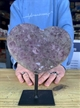 "Large Heart Purple Druzy Amethyst on Metal Stand 6.25"" 3.25 lbs"