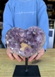 "Large Heart Purple Druzy Amethyst on Metal Stand 5"" 2.9 lbs"
