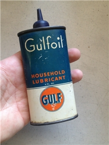 Vintage Gulf Oil Household Lubricant Metal Tin Can 4 Oz Oiler
