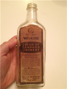 Vintage Watkins Cream Of Camphor Liniment Medicine Bottle W/ Label