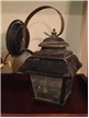 Old Vintage Black Metal Outdoor House Electric Wall Lamp Light W/ Glass Decor