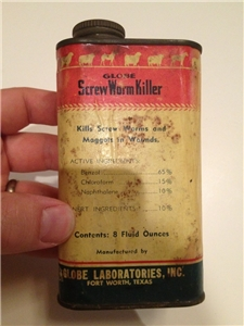 Vintage Collectible Tin Can Globe Screw Worm Kilker Fort Worth Texas
