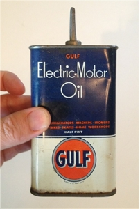 Vintage Gulf Oil Electric Motor Oiler Tin Can Lead Spout Half Pint PA