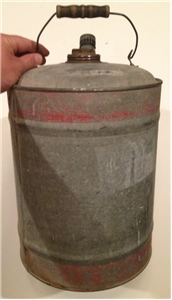 Old Vintage Gas / Water Can Bucket Wood Handle Farm Decor 5 Gallon Red Stripes