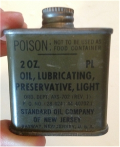 Vintage Military Army Oil Lubricant Oil Tin Metal Can Standard Oil Company WW2?