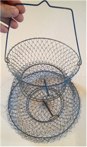 Metal Wire Fishing Basket For use Or Vintage Cabin Decor Blue