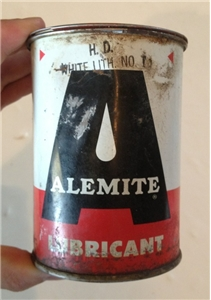 Vintage Alemite Lubricant Oil Metal Can Full Stewart Warner