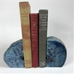 Set of 2 Polished Agate Geodes Bookends | Blue 4""
