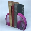Set of 2 Polished Agate Geodes Bookends | Pink 4.5""