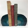 Set of 2 Polished Agate Geodes Bookends | Teal 4.5""