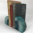 Set of 2 Polished Agate Geodes Bookends | Teal 3.5""