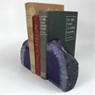 Set of 2 Polished Agate Geodes Bookends | Purple 4.5""