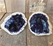 Set of 2 Cut Purple Geode Halves Colored Dyed Druzy Enhanced 3""