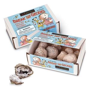 boxed break your own geodes, geode, geodes, kids geodes, brazillian geodes, crack open geodes, geode