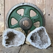 "Cut Moroccan Geode Pair Halves 3"" White Clear Crystals"