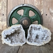 "Cut Moroccan Geode Pair Halves 3.5"" White Clear Crystals"