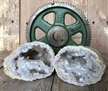 "Cut Moroccan Geode Pair Halves 3.75"" White Clear Crystals"