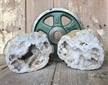 "Cut Moroccan Geode Pair Halves 4""  Large White Clear Crystals"