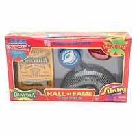 slinky toy, silly putty toy, crayons, yo-yo toy, hall of fame pack, classic toys, silly putty, slink