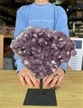 "Large Purple Druzy Amethyst on Metal Stand 8.5"" 4.2 lbs"