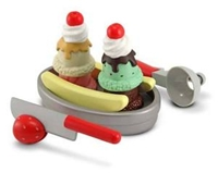 Slice and Scoop Sundae Set, play food, pretend food, pretend ice cream set, play ice cream toy, kid