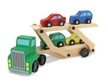 Car Carrier by Melissa and doug, wooden cars, wooden truck, wood cars, wooden playset for kids