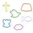 Memory Shape Rubber Bands Love Assortment, Popular kids shapped rubber bands, Bible, Lips, Angel