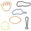 Memory Shape Rubber Bands sports Assortment, Popular kids shapped rubber bands, football, baseball