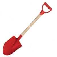 Wood Handle Plastic Sand Shovel Kids - Red