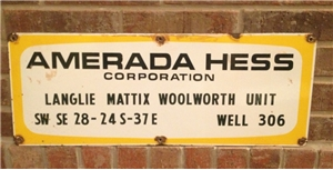 Original Vintage Collectible Porcelain Oil / Gas Sign Amerada Hess Corp 26""